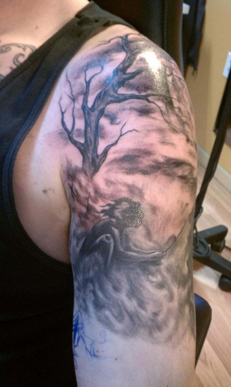 tree half sleeve tattoo design tattoos book. Black Bedroom Furniture Sets. Home Design Ideas
