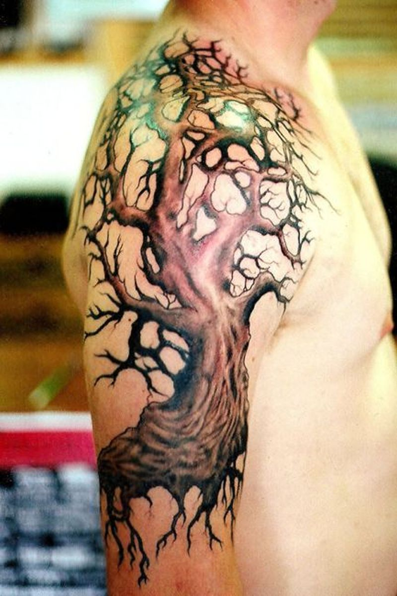 Tree tattoo on shoulder