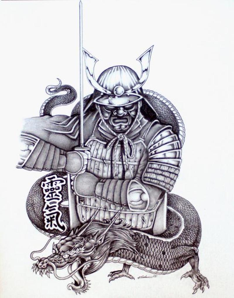 Tremendous asian warrior tattoo design