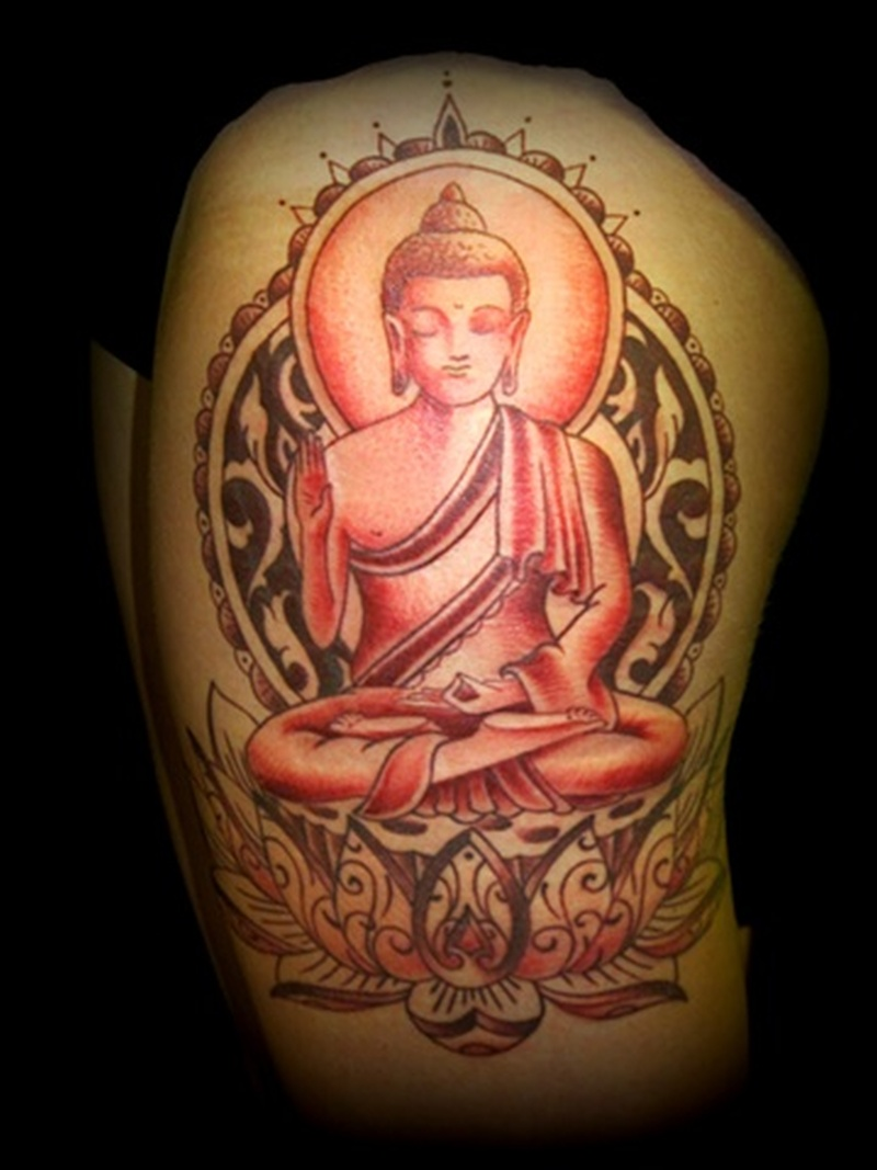 Tremendous tattoo design of religious buddha