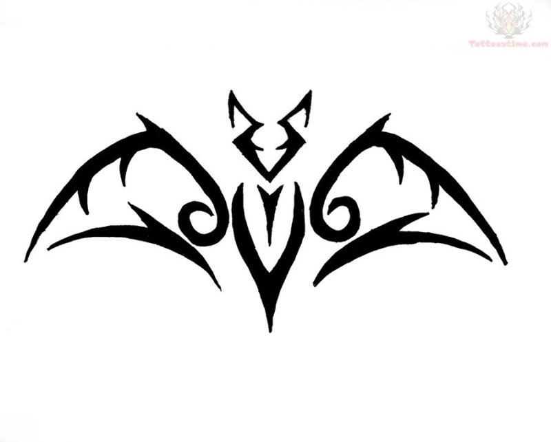 Tribal bat tattoo pattern