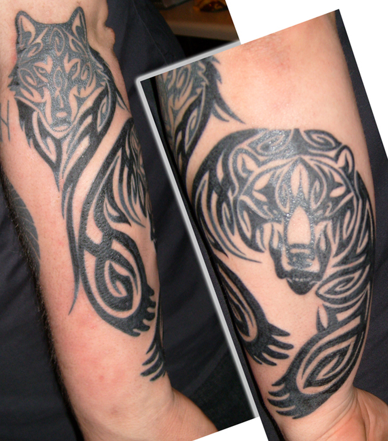 Tribal bear wolf tattoo design