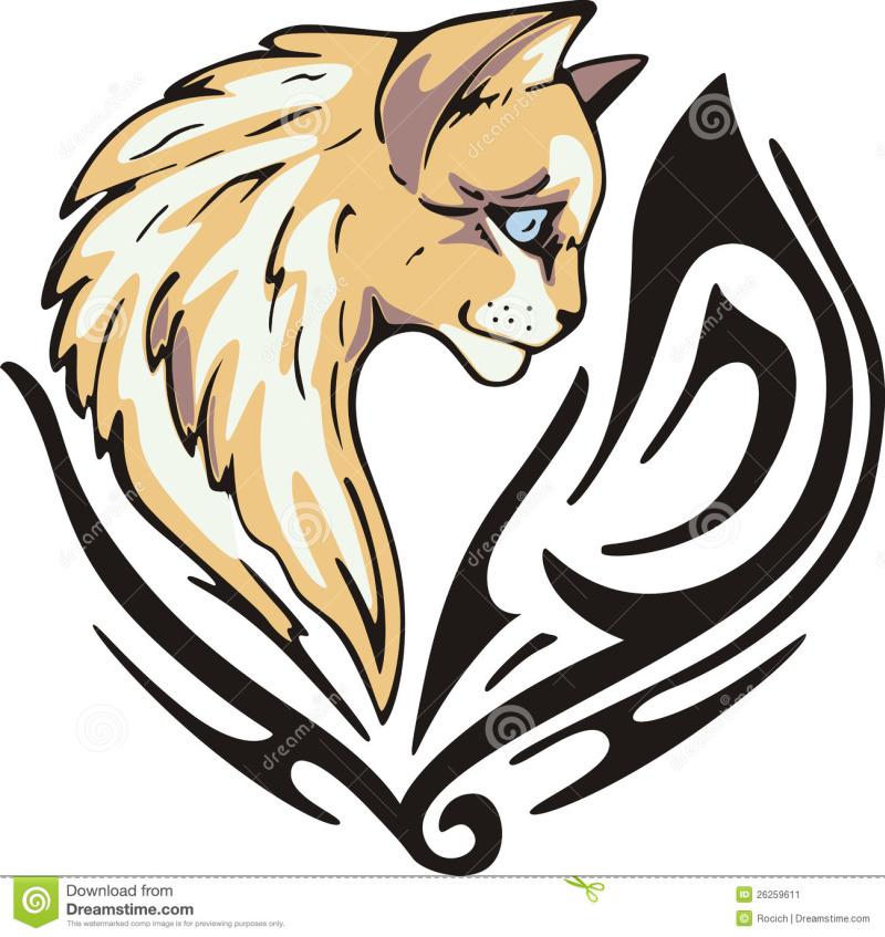 Tribal cat tattoo design 2