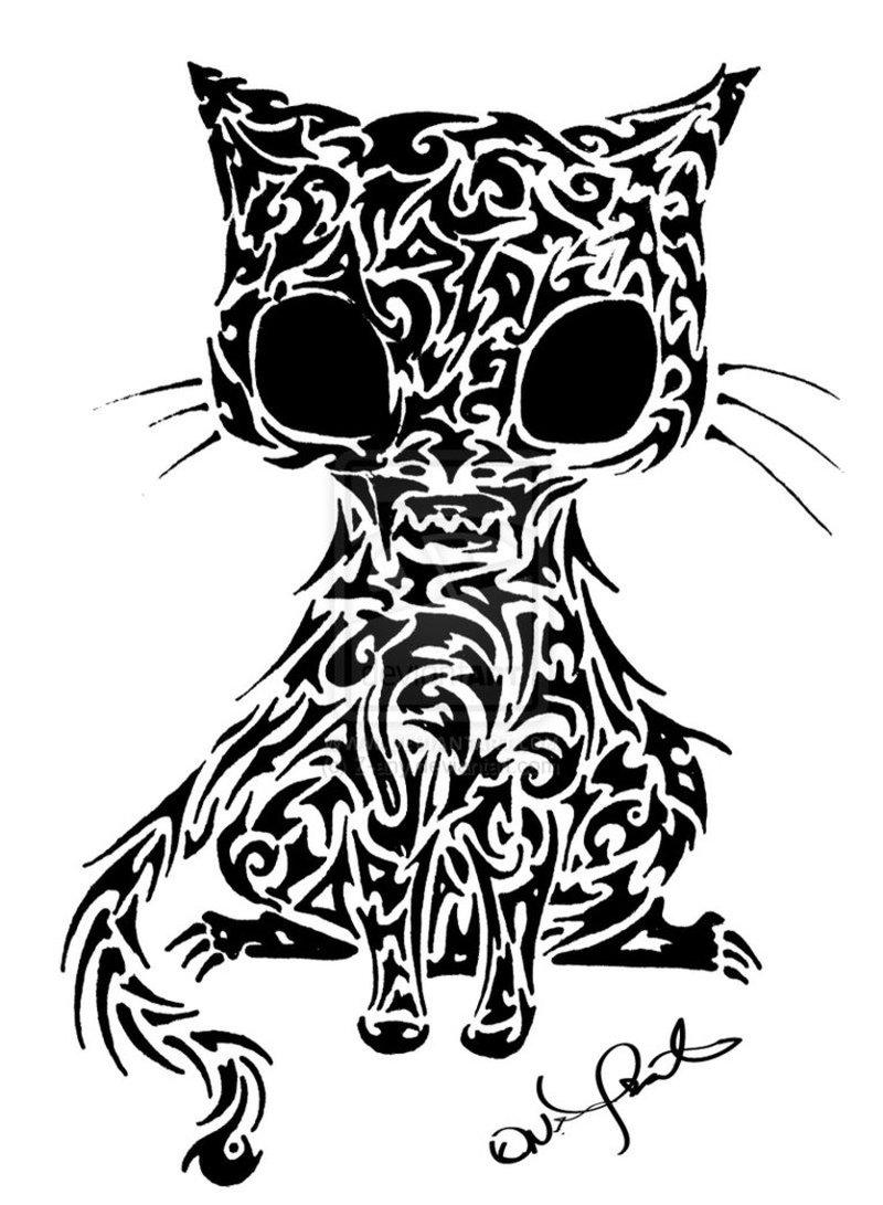 Tribal cat tattoo design 3