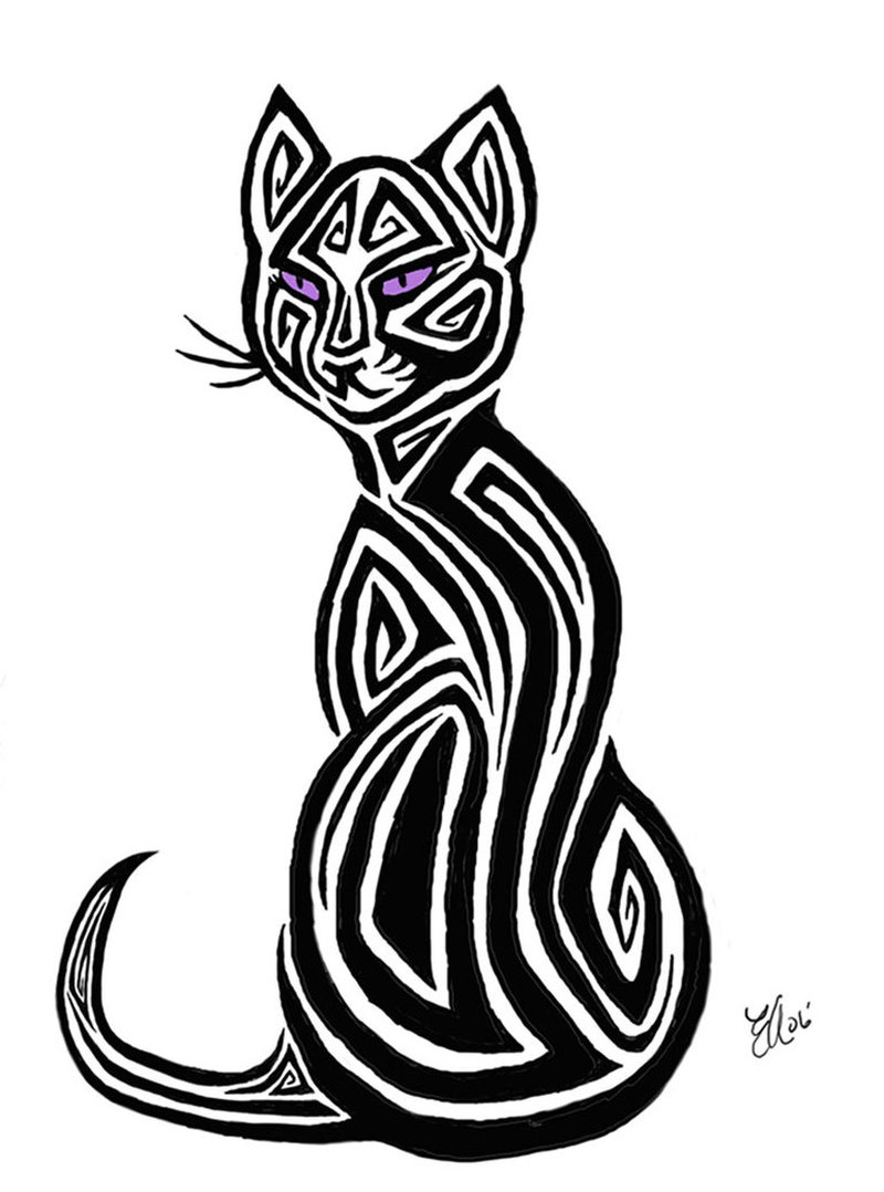Tribal cat tattoo design