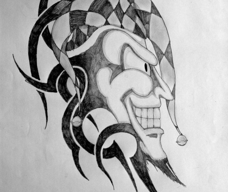 Tribal clown tattoo design