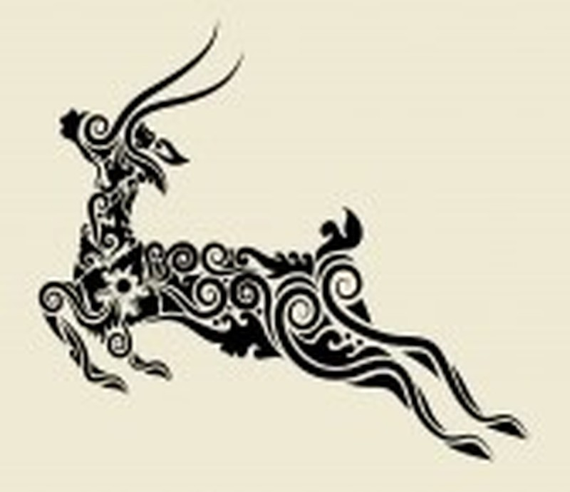 Tribal deer tattoo design 2