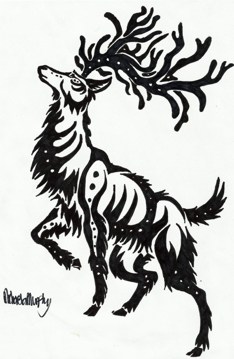 Tribal deer tattoo design 3
