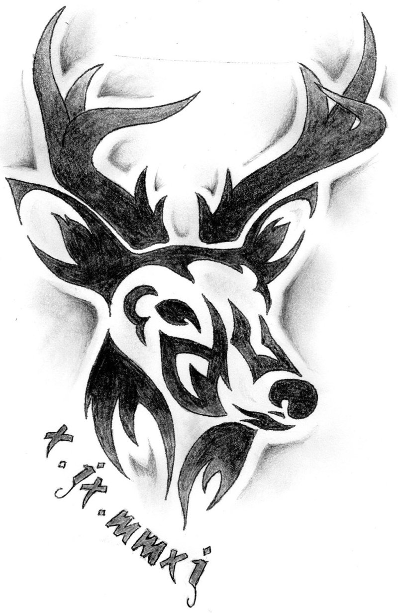 Tribal deer tattoo design