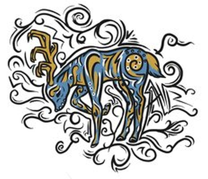 Tribal deer tattoo graphic