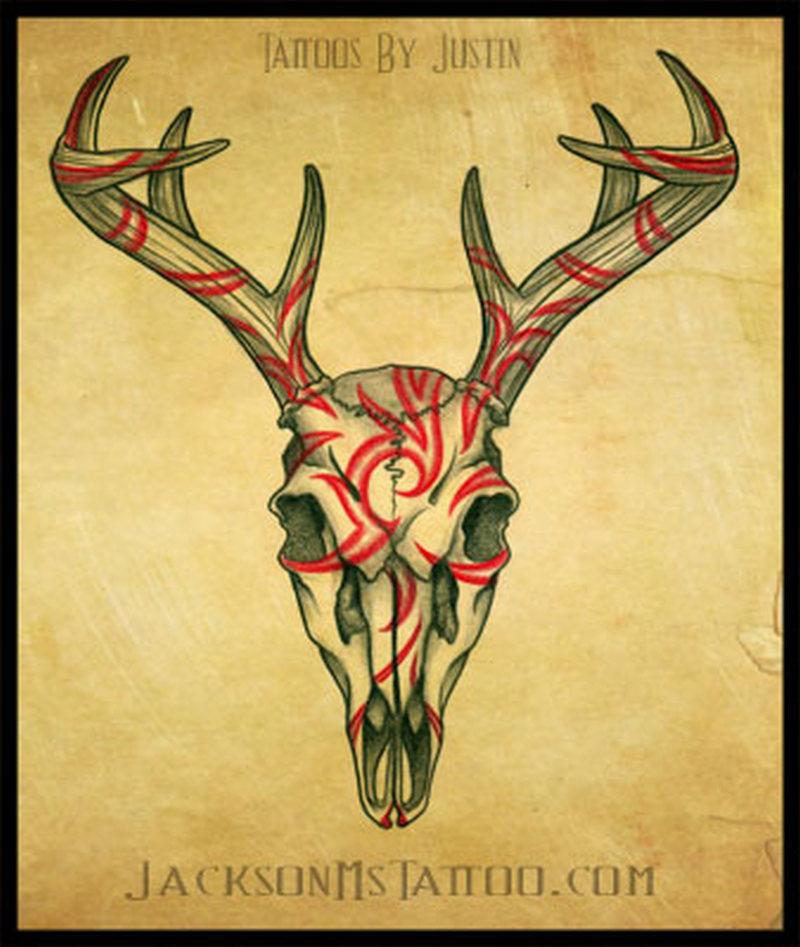 Tribal deer tattoo poster