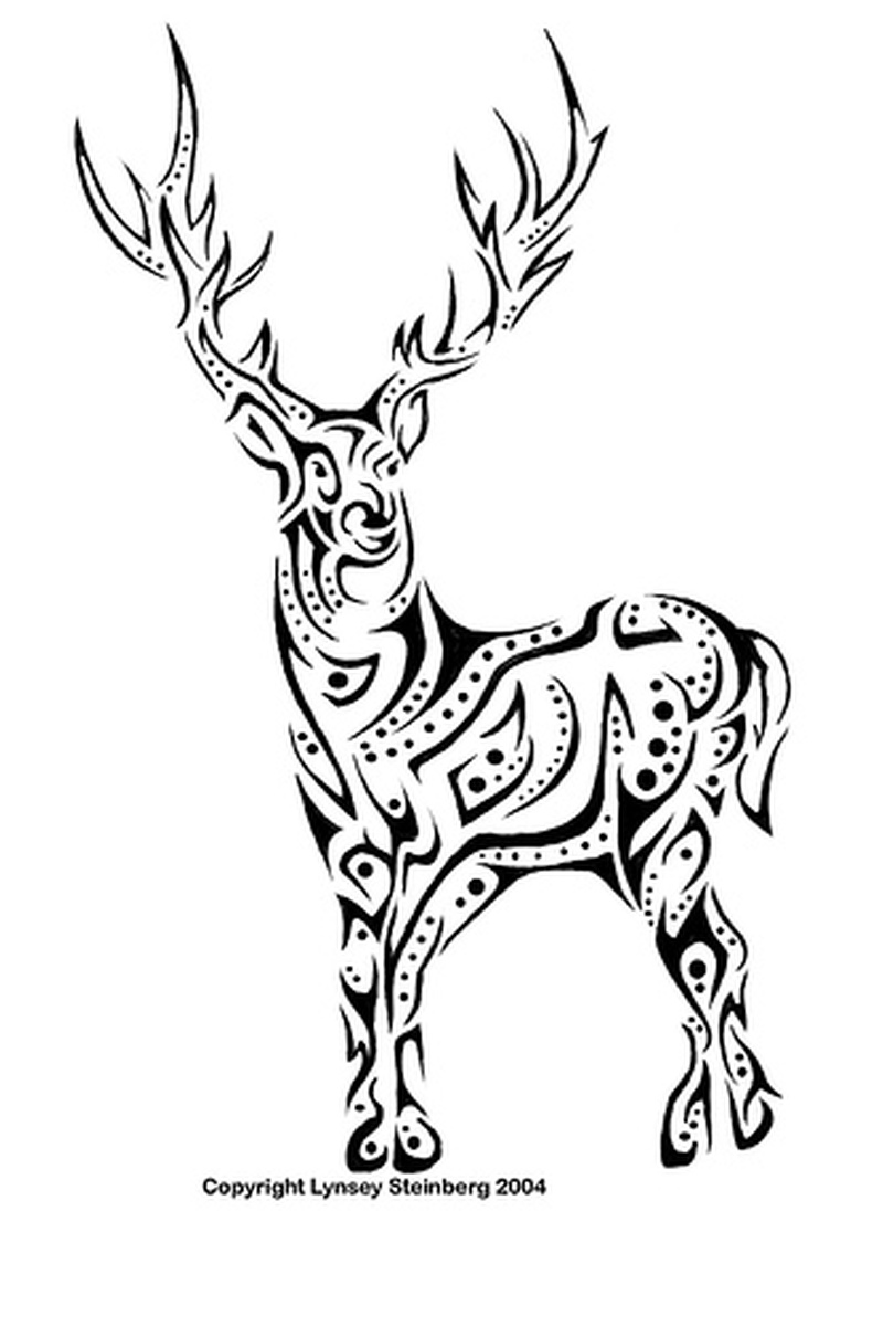 Tribal deer tattoo sample