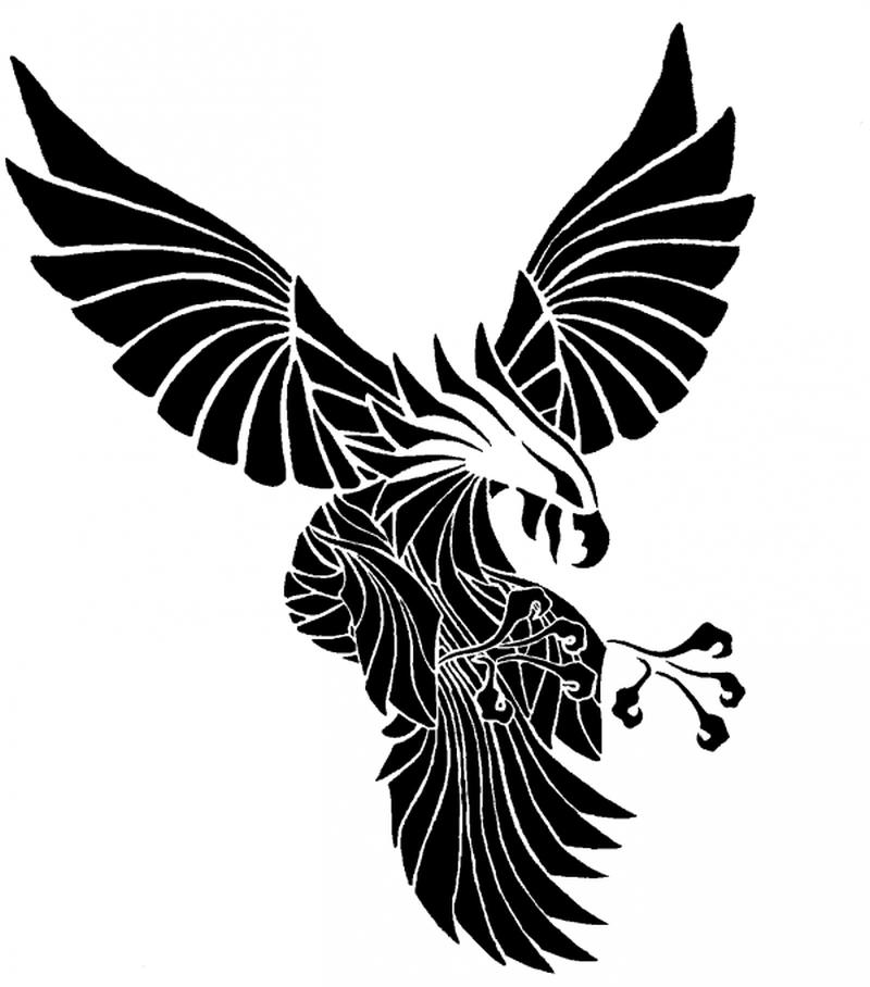 Tribal eagle tattoo stencil