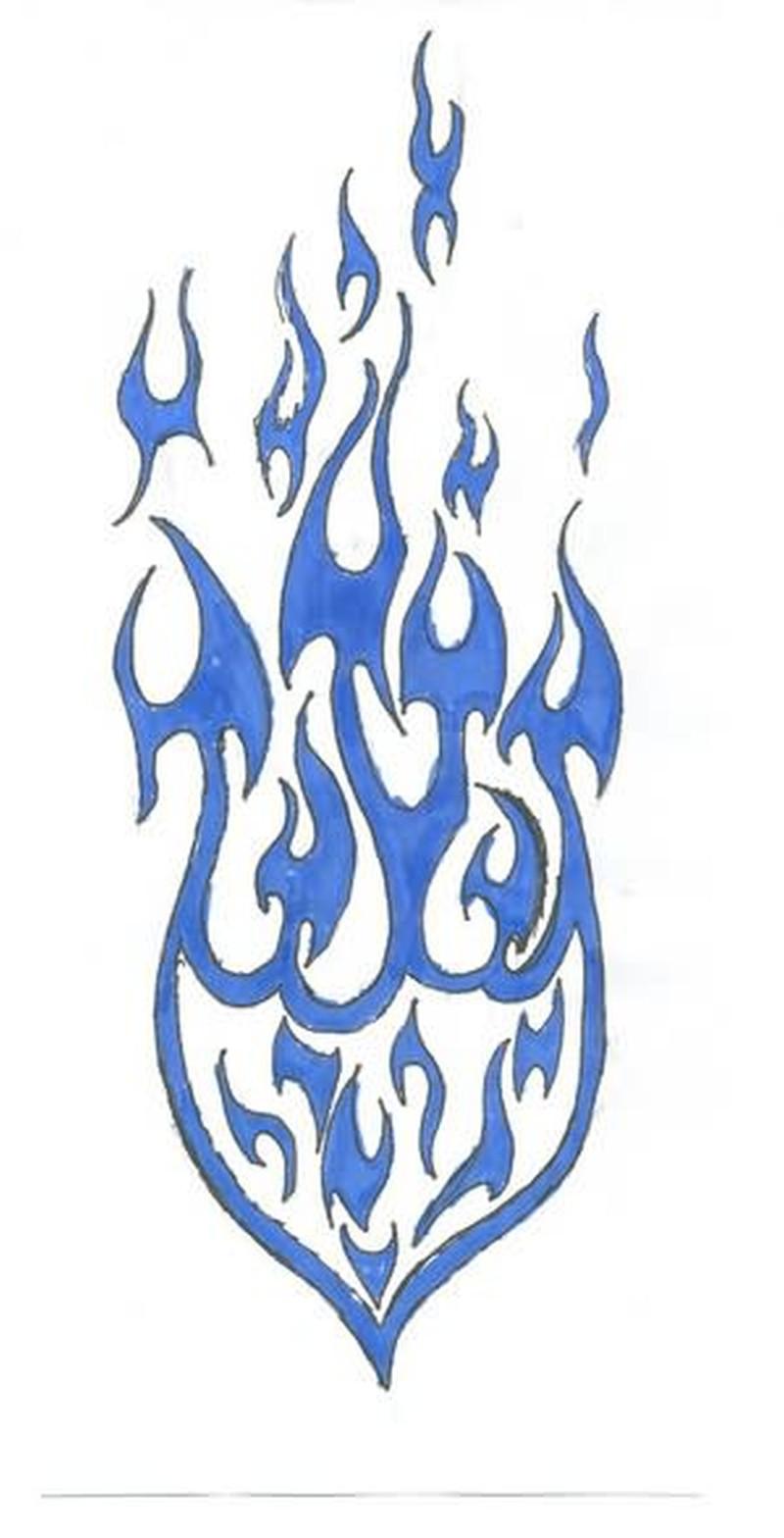 Tribal flame tattoo sample
