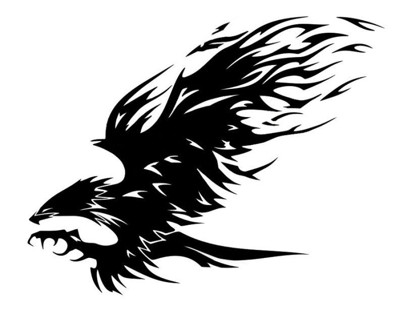 Tribal flaming eagle tattoo design