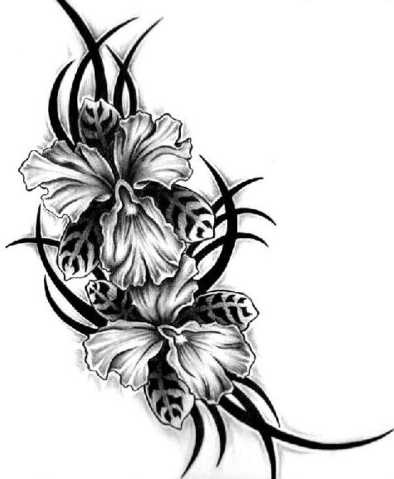 Tribal floral tattoo design 2
