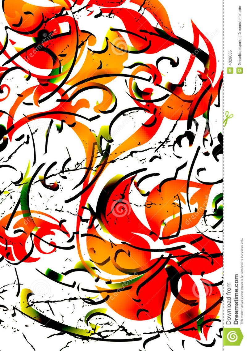 Tribal floral tattoo design