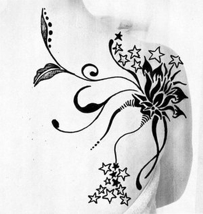 Tribal flower tattoo drawing