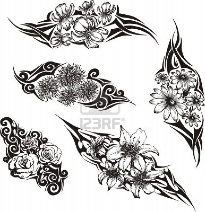 Tribal flower tattoo pack