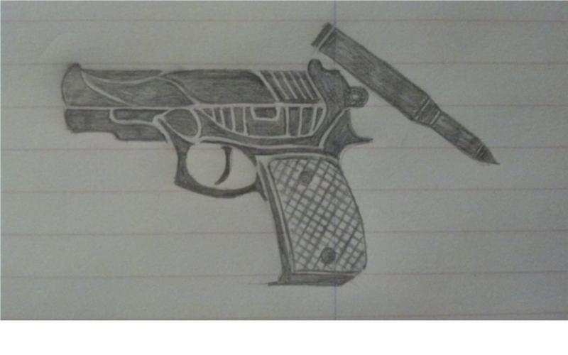 Tribal gun tattoo drawing