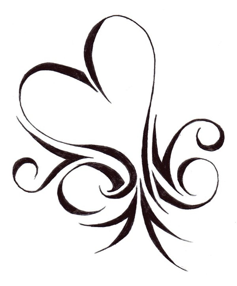 Tribal heart tattoo stencil 2