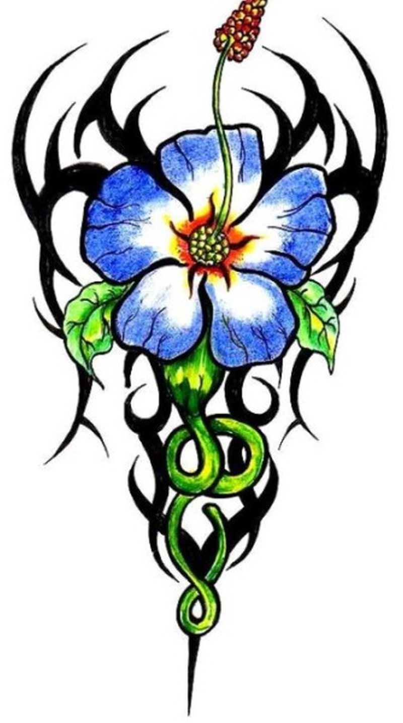 Tribal hibiscus flower tattoo stencil