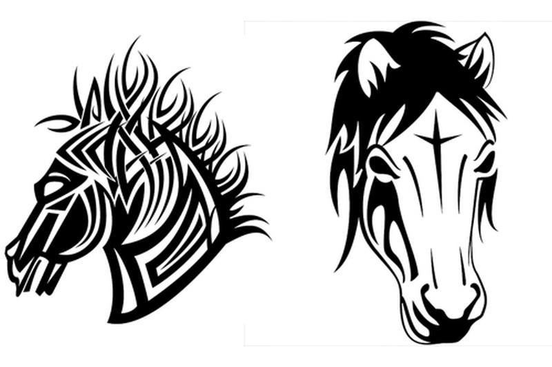 Tribal horse head tattoo designs