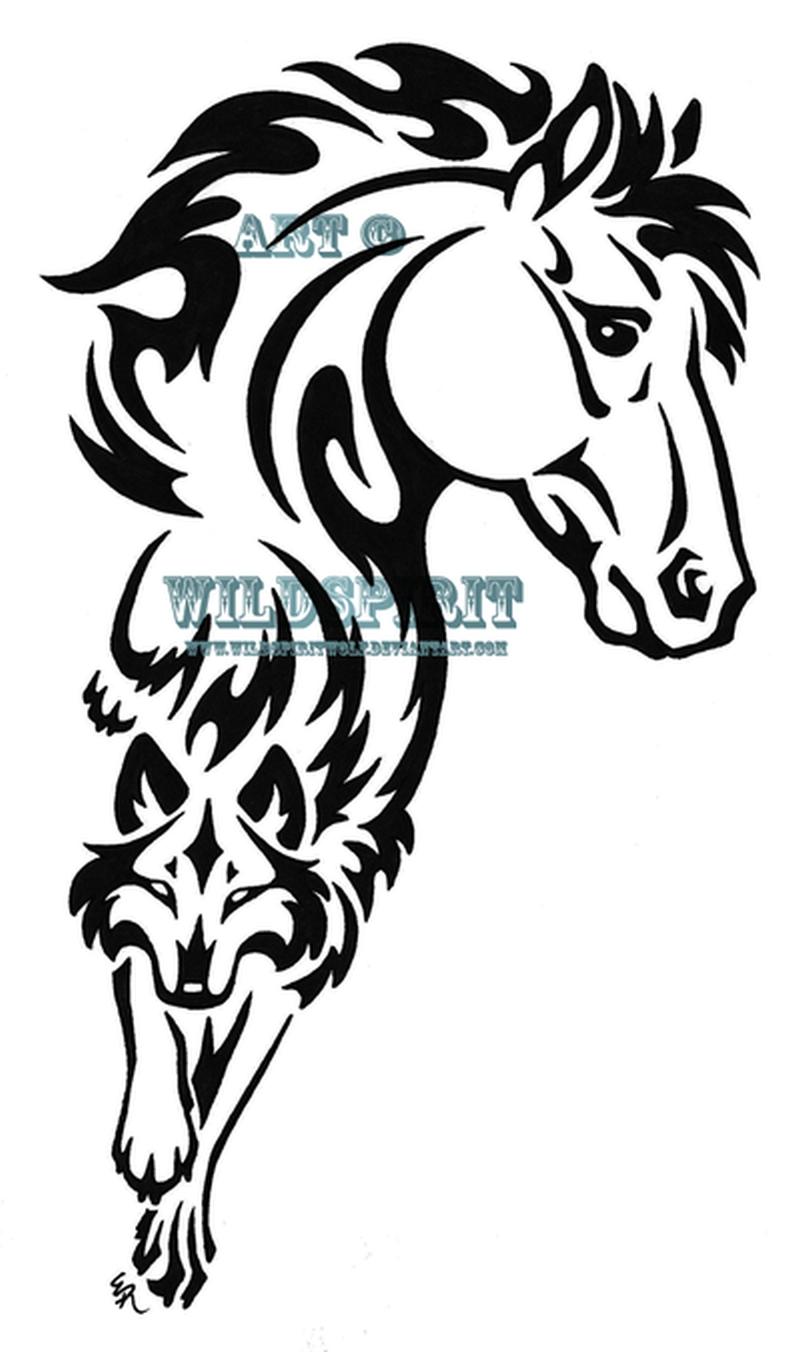 Tribal horse n wolf tattoo design