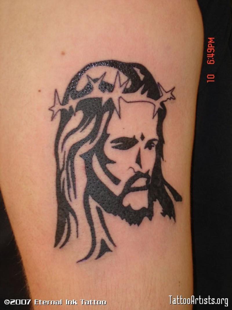 Tribal jesus tattoo design