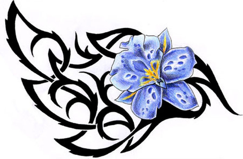 Tribal n blue flower tattoo design