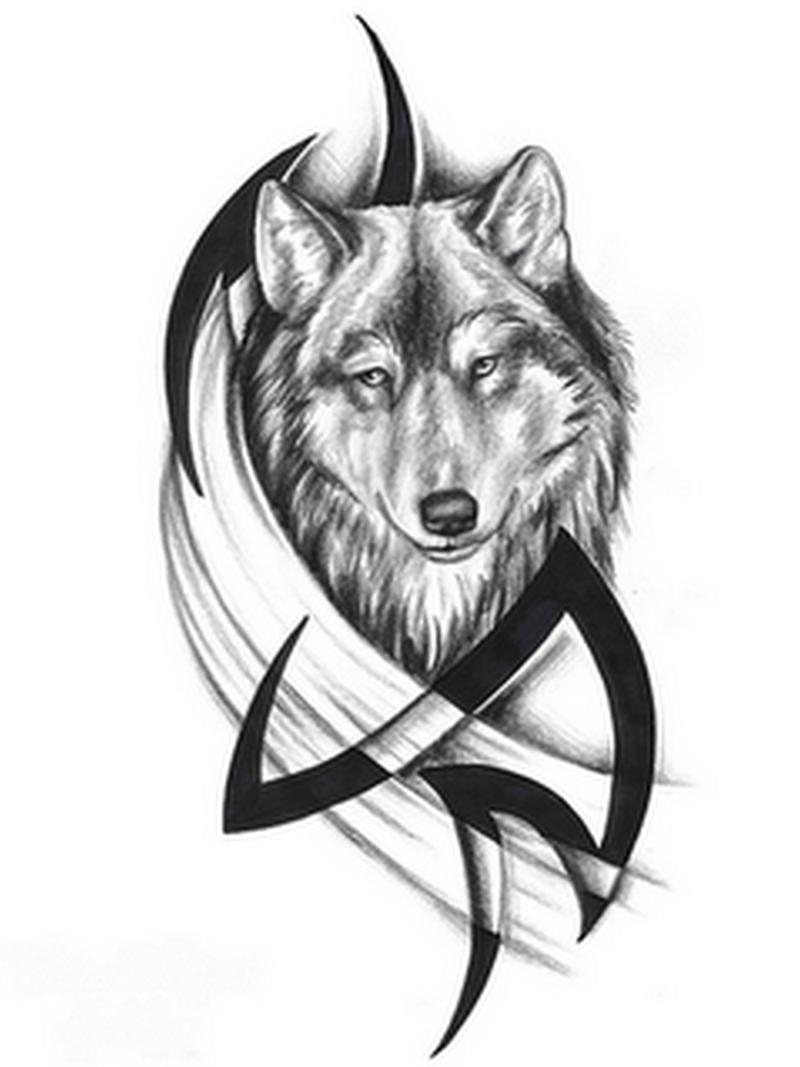 Tribal n wolf head tattoo sample