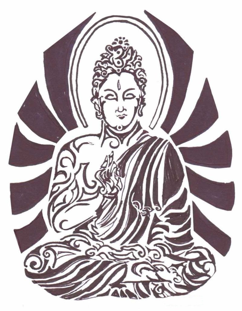 Tribal religious buddha tattoo design