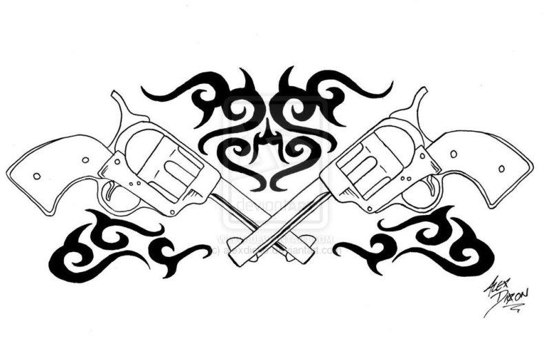 Tribal shooter gun design tattoo