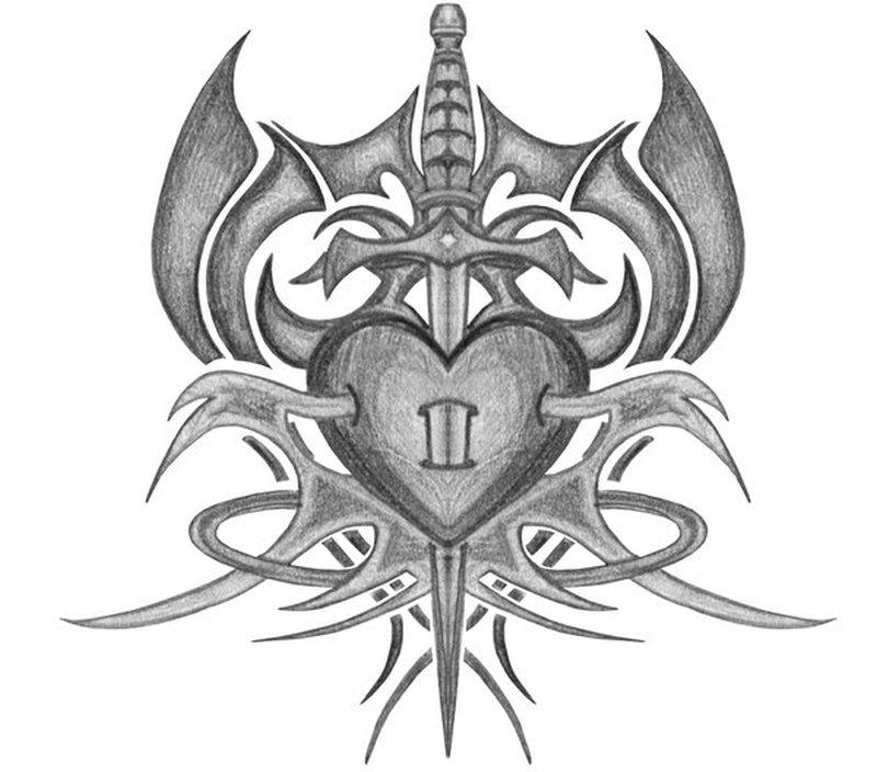 Tribal sword heart tattoo drawing