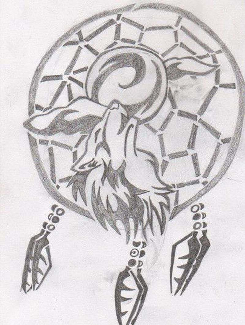 Tribal Wolf Dream Catcher Tattoo Drawing Tattoos Book 65 000