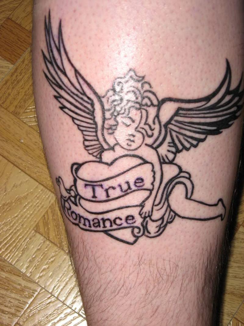 True heart angel tattoo