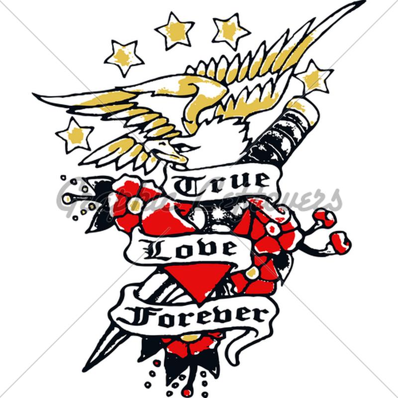 True love forever eagle tattoo design