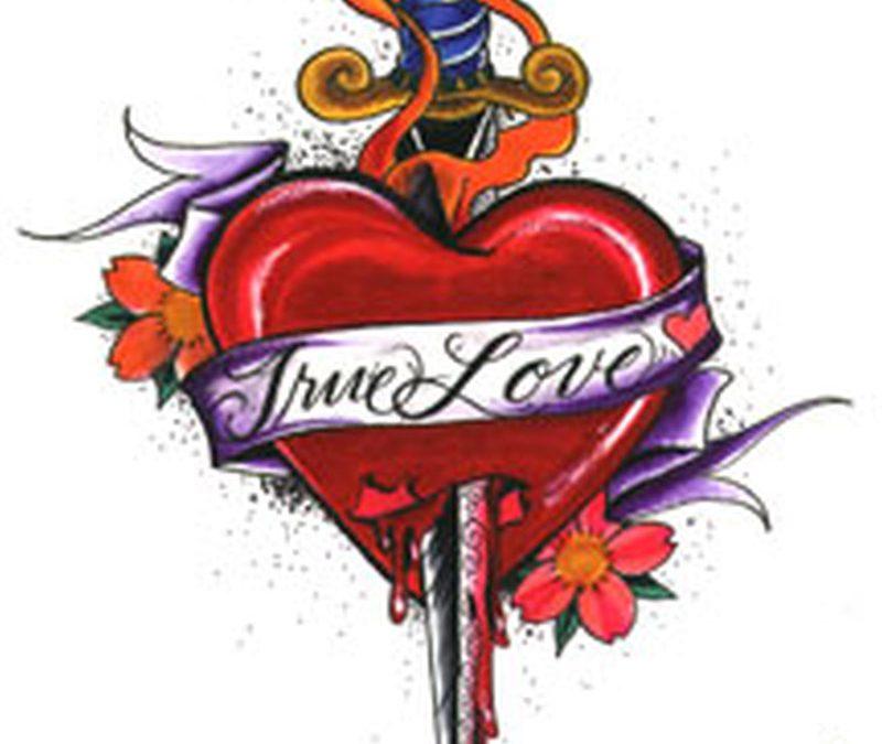True love heart with dagger design tattoo
