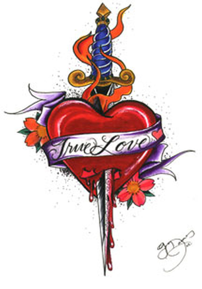 True love heart with dagger design tattoo
