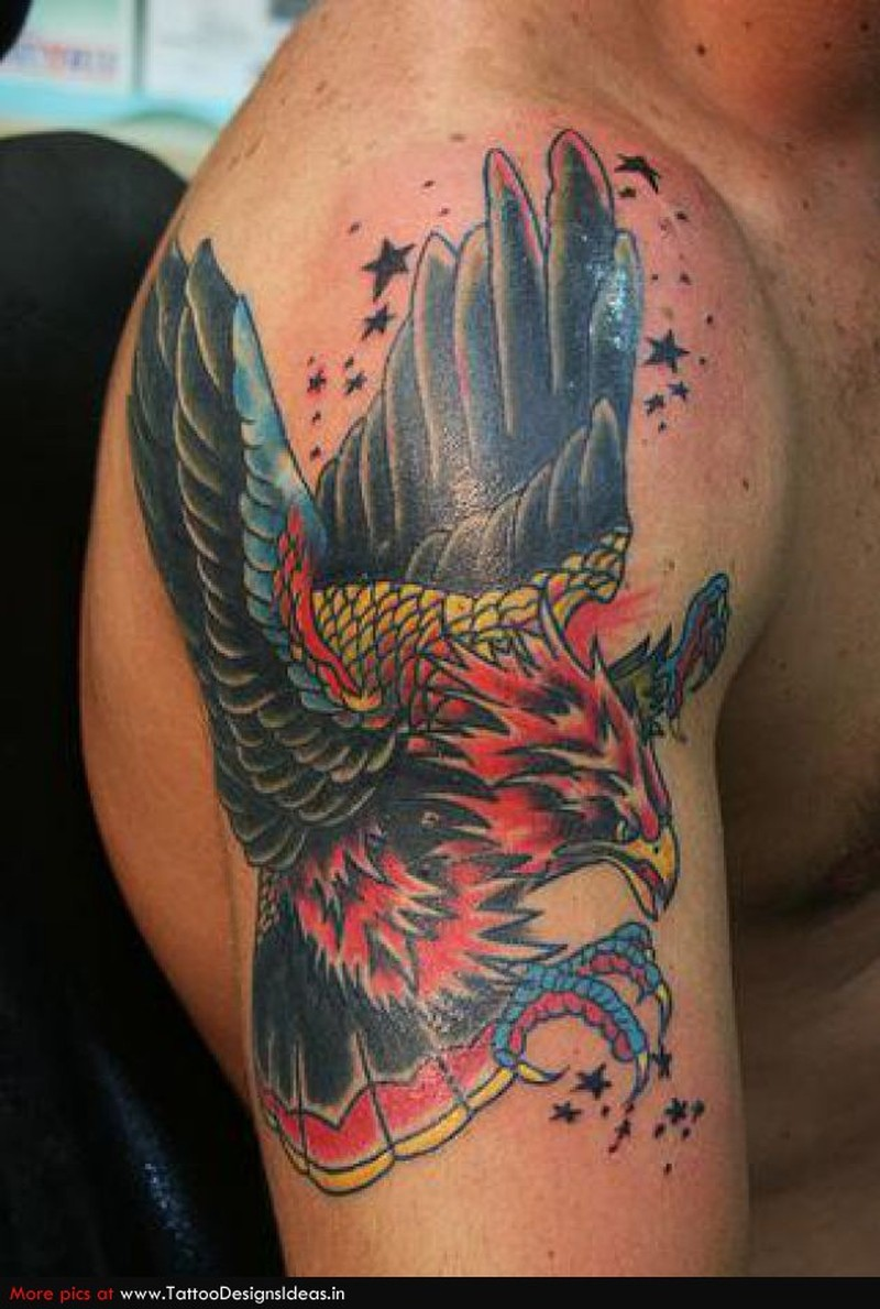 Truly awesome eagle tattoo on shoulder