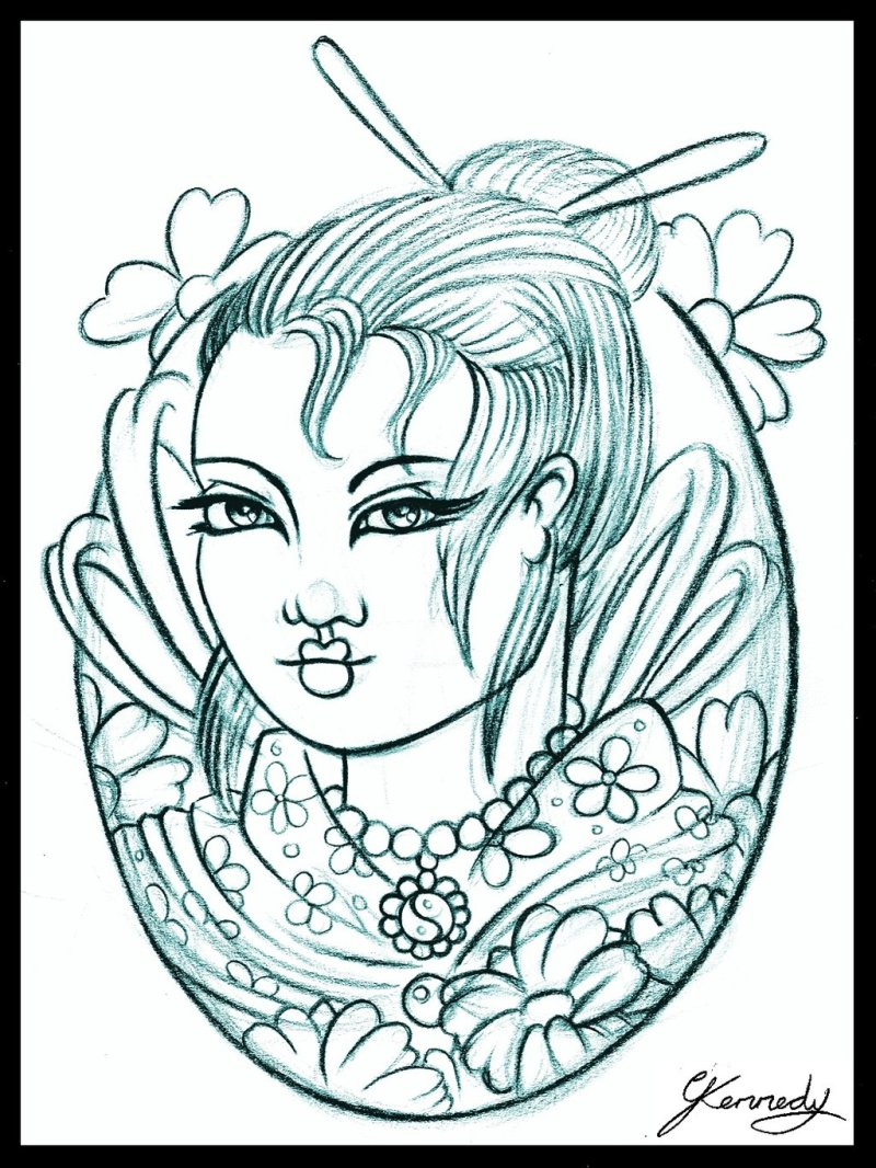 Truly awesome geisha tattoo design