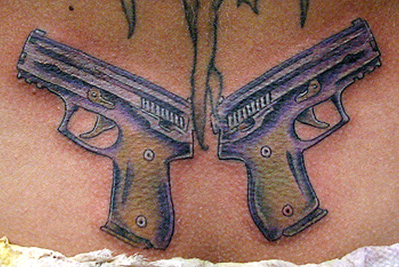 Truly awesome gun tattoo design