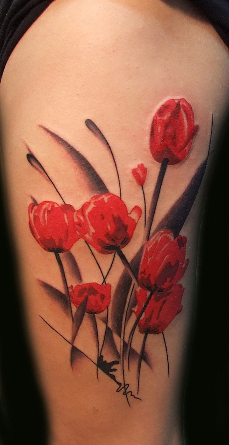 Tulips flowers tattoo design
