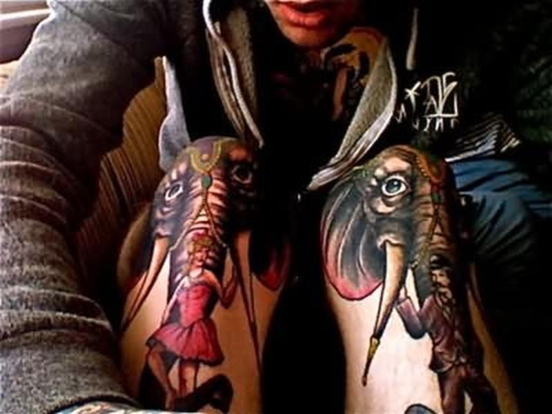 Tumblr elephant tattoo on knee
