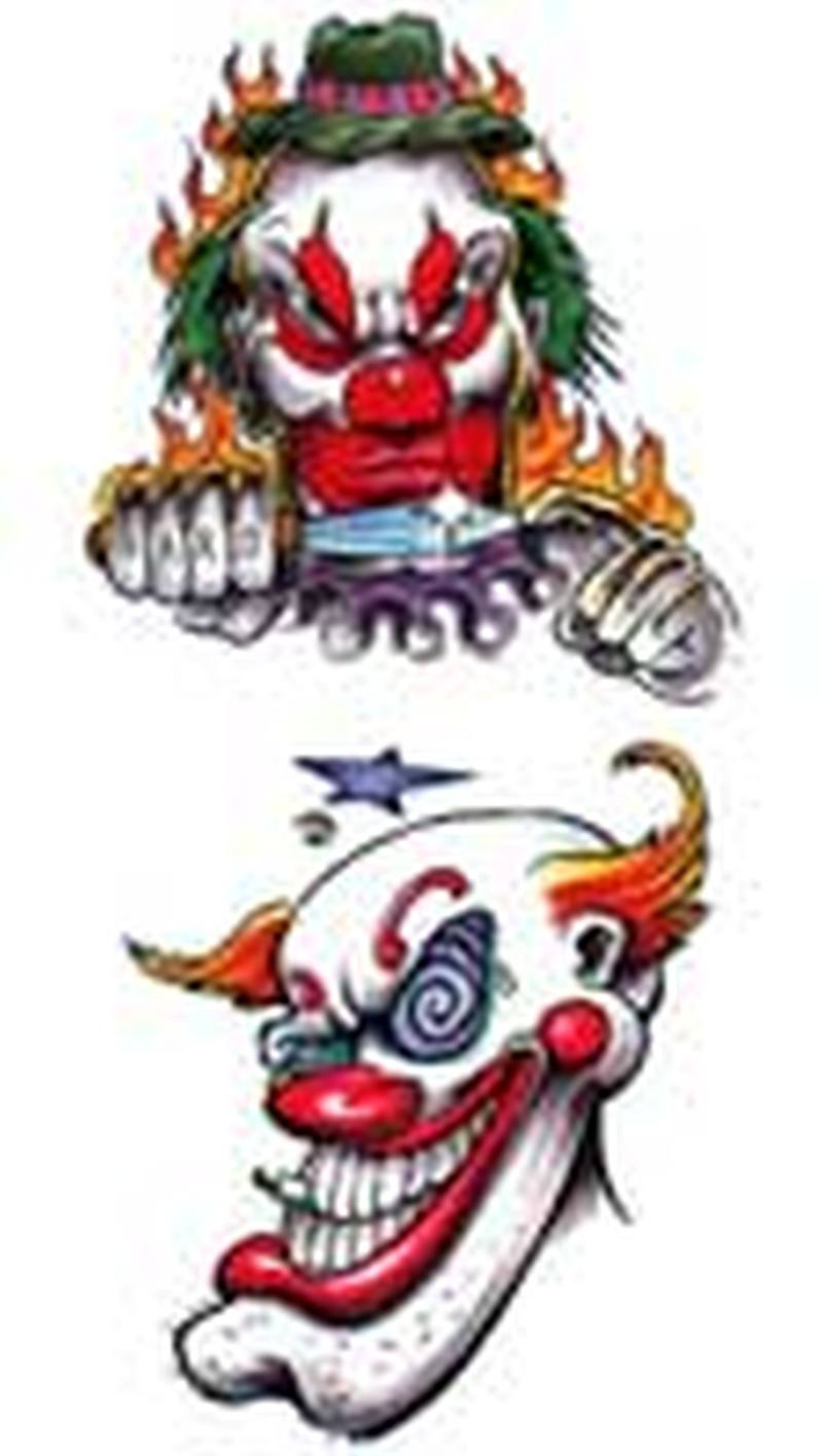 100 wicked clown tattoo designs photo the aesthetics blog evil joker tattoo tattos josh. Black Bedroom Furniture Sets. Home Design Ideas