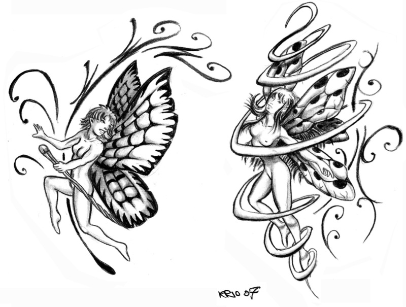 Two fairy tattoo designs