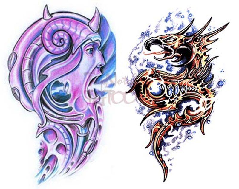 Two fantasy tattoo designs