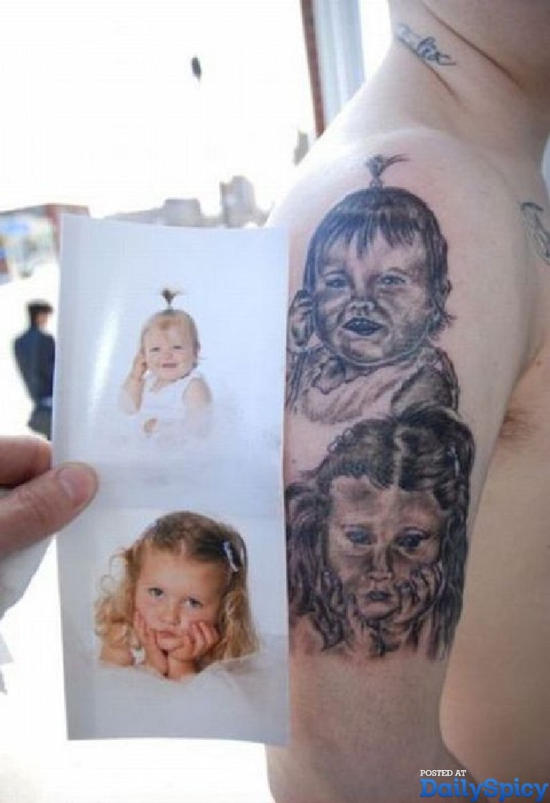 Baby portrait tattoo ideas - Ugly Baby Girls Tattoo Designs