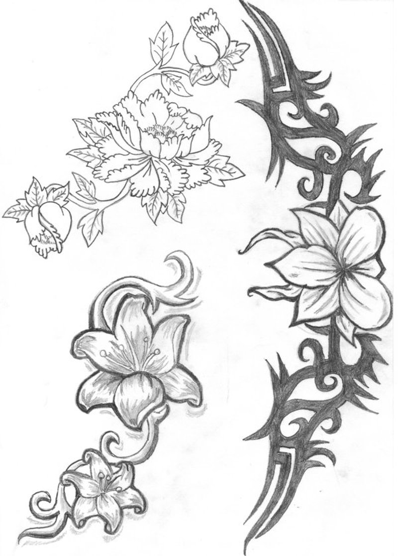 Uncolored flower tattoo designs