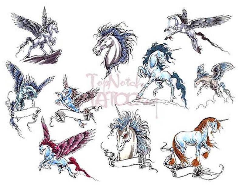 Unicorn fantasy tattoo designs